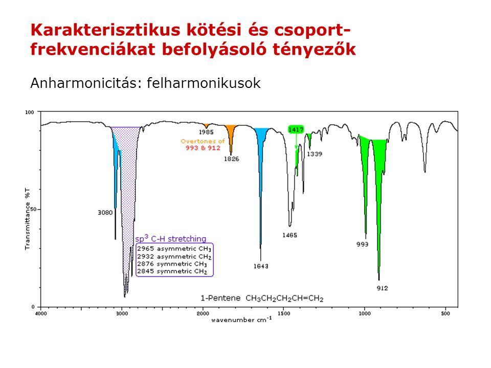 Anharmonicitás: felharmonikusok Karakterisztikus kötési és csoport- frekvenciákat befolyásoló tényezők