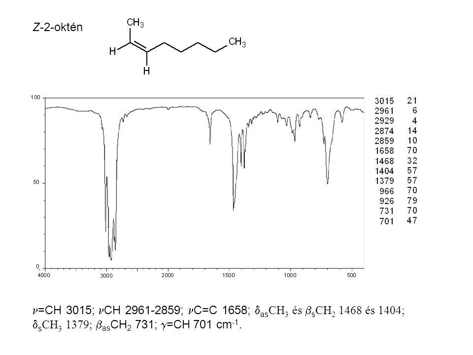 Z-2-oktén =CH 3015; CH 2961-2859; C=C 1658;  as CH 3 és  s CH 2 1468 és 1404;  s CH 3 1379;  as CH 2 731;  =CH 701 cm -1.