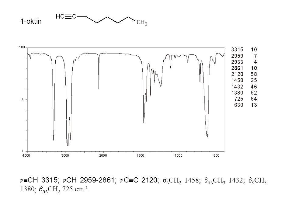 1-oktin  CH 3315; CH 2959-2861; C  C 2120;  s CH 2 1458;  as CH 3 1432;  s CH 3 1380;  as CH 2 725 cm -1.