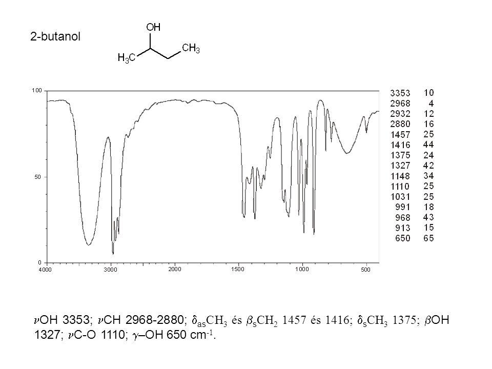 2-butanol OH 3353; CH 2968-2880;  as CH 3 és  s CH 2 1457 és 1416;  s CH 3 1375;  OH 1327; C-O 1110;  –OH 650 cm -1.