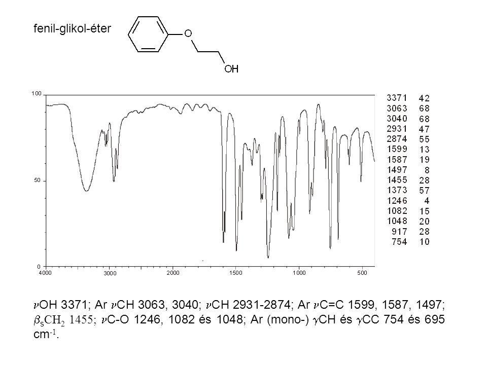 fenil-glikol-éter OH 3371; Ar CH 3063, 3040; CH 2931-2874; Ar C=C 1599, 1587, 1497;  s CH 2 1455; C-O 1246, 1082 és 1048; Ar (mono-)  CH és  CC 754 és 695 cm -1.
