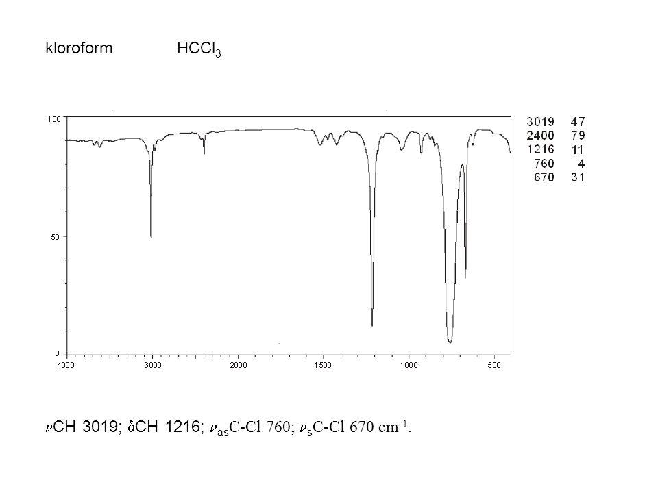 kloroformHCCl 3 CH 3019;  CH 1216; as C-Cl 760; s C-Cl 670 cm -1.