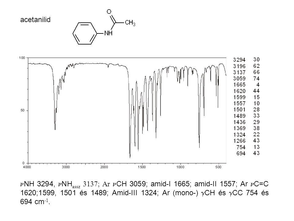 acetanilid NH 3294, NH assz 3137; Ar CH 3059; amid-I 1665; amid-II 1557; Ar C=C 1620;1599, 1501 és 1489; Amid-III 1324; Ar (mono-)  CH és  CC 754 és 694 cm -1.