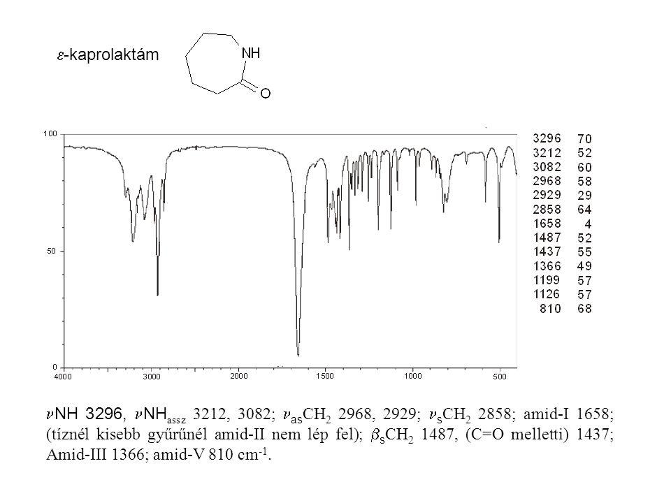  -kaprolaktám NH 3296, NH assz 3212, 3082; as CH 2 2968, 2929; s CH 2 2858; amid-I 1658; (tíznél kisebb gyűrűnél amid-II nem lép fel);  s CH 2 1487, (C=O melletti) 1437; Amid-III 1366; amid-V 810 cm -1.