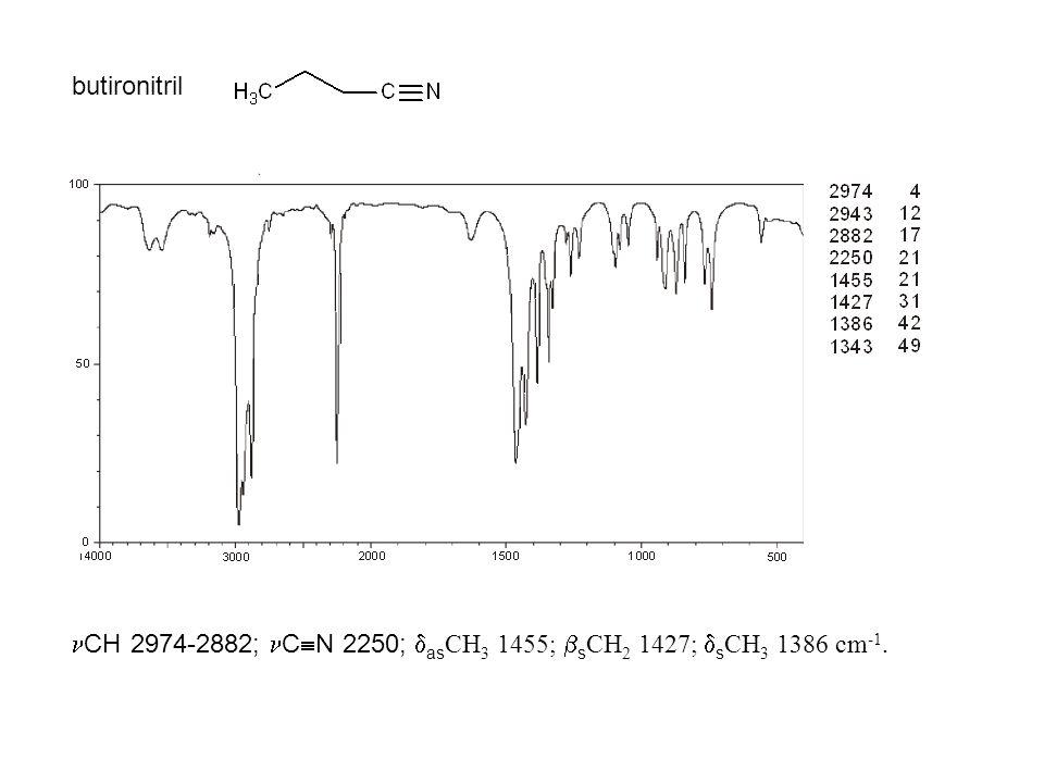 butironitril CH 2974-2882; C  N 2250;  as CH 3 1455;  s CH 2 1427;  s CH 3 1386 cm -1.