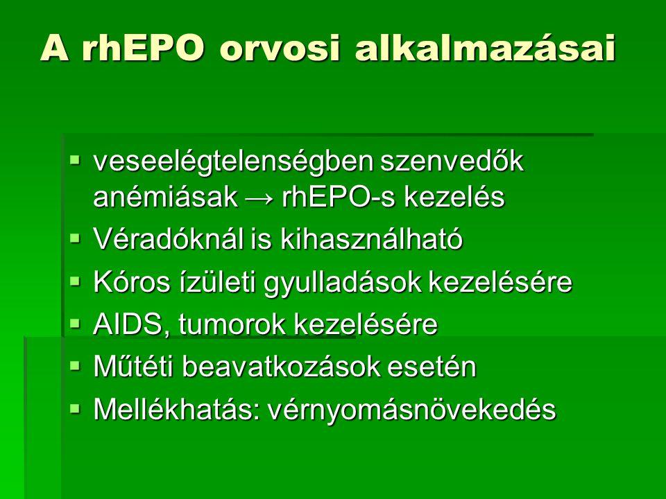 A rhEPO orvosi alkalmazásai  veseelégtelenségben szenvedők anémiásak → rhEPO-s kezelés  Véradóknál is kihasználható  Kóros ízületi gyulladások keze