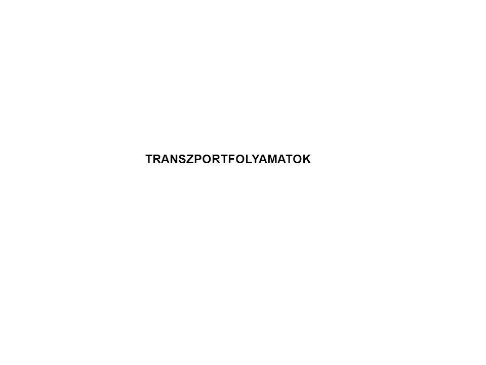 Tápoldat membrán sejtinteriőr S S S S S S S S S S S SS S S S tápoldat membrán sejtinteriőr S SS S S S S S S S S S S S S S K K KS S energia tápoldat membrán sejtinteriőr S S S S S S S S S S S S S S S S K K KS S passzív diffúziókönnyített diffúzió aktív transzport A transzport fajtái: 1.