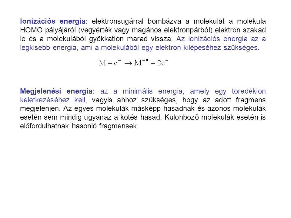 Ionizációs energia: elektronsugárral bombázva a molekulát a molekula HOMO pályájáról (vegyérték vagy magános elektronpárból) elektron szakad le és a m
