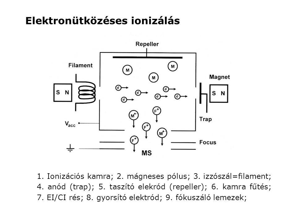 1. Ionizációs kamra; 2. mágneses pólus; 3. izzószál=filament; 4. anód (trap); 5. taszító elekród (repeller); 6. kamra fűtés; 7. EI/CI rés; 8. gyorsító