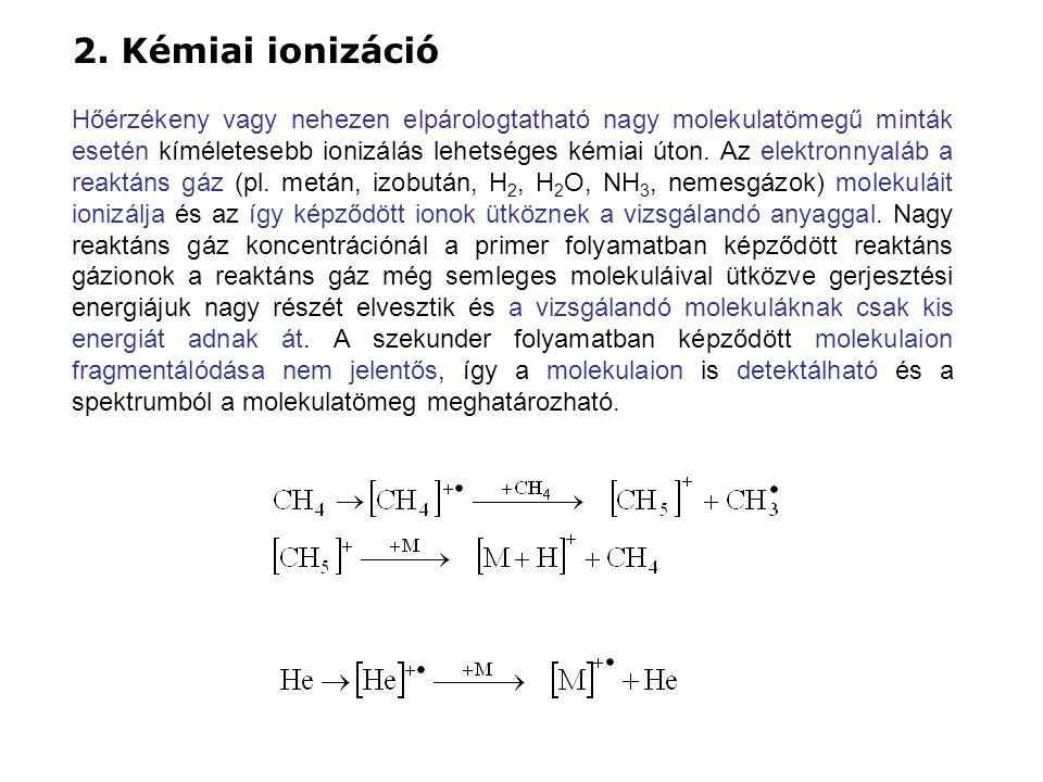2. Kémiai ionizáció Hőérzékeny vagy nehezen elpárologtatható nagy molekulatömegű minták esetén kíméletesebb ionizálás lehetséges kémiai úton. Az elekt
