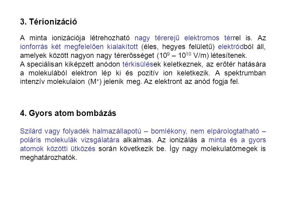 3. Térionizáció A minta ionizációja létrehozható nagy térerejű elektromos térrel is. Az ionforrás két megfelelően kialakított (éles, hegyes felületű)
