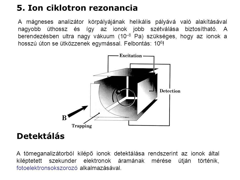 5. Ion ciklotron rezonancia A mágneses analizátor körpályájának helikális pályává való alakításával nagyobb úthossz és így az ionok jobb szétválása bi