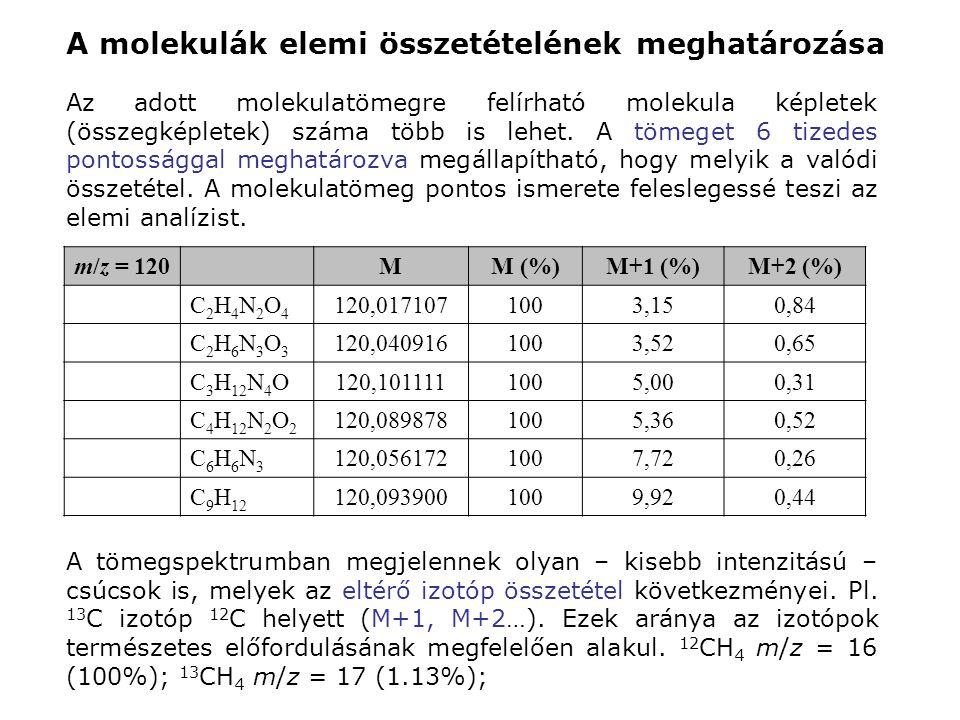 A molekulák elemi összetételének meghatározása Az adott molekulatömegre felírható molekula képletek (összegképletek) száma több is lehet. A tömeget 6