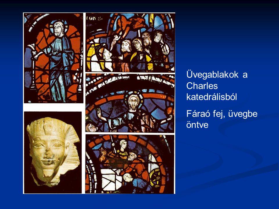 Üvegablakok a Charles katedrálisból Fáraó fej, üvegbe öntve