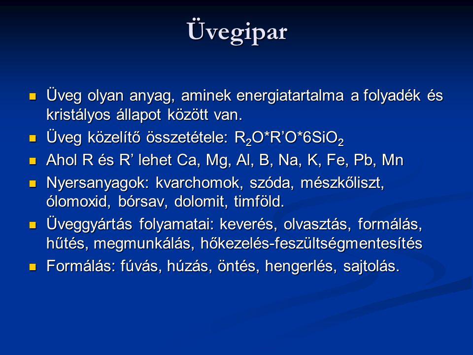 Üvegipar Üveg olyan anyag, aminek energiatartalma a folyadék és kristályos állapot között van. Üveg olyan anyag, aminek energiatartalma a folyadék és