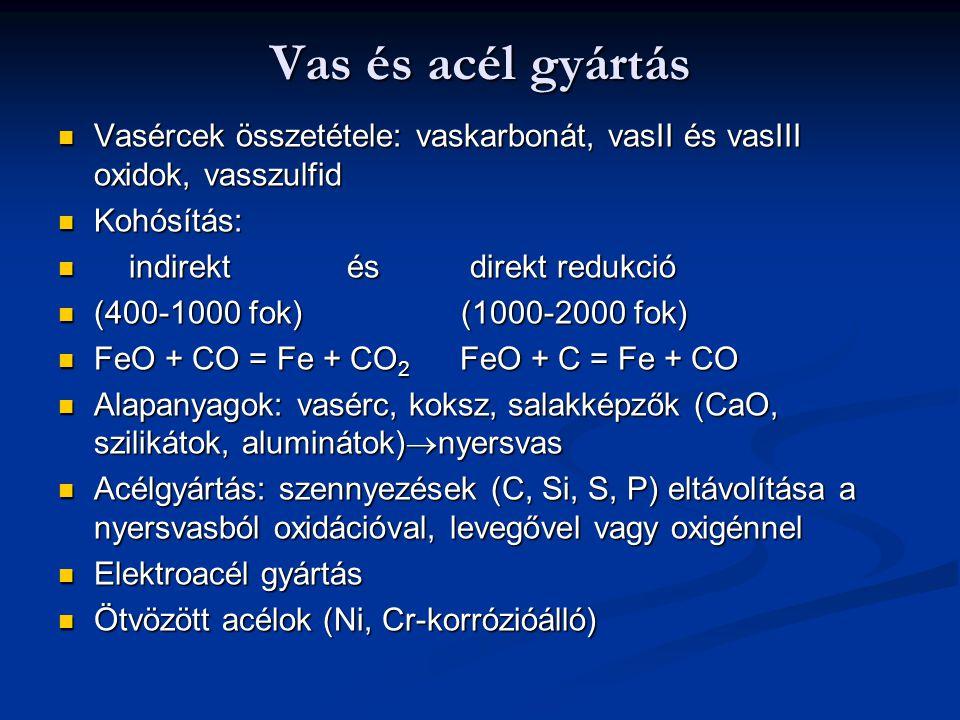 Vas és acél gyártás Vasércek összetétele: vaskarbonát, vasII és vasIII oxidok, vasszulfid Vasércek összetétele: vaskarbonát, vasII és vasIII oxidok, v