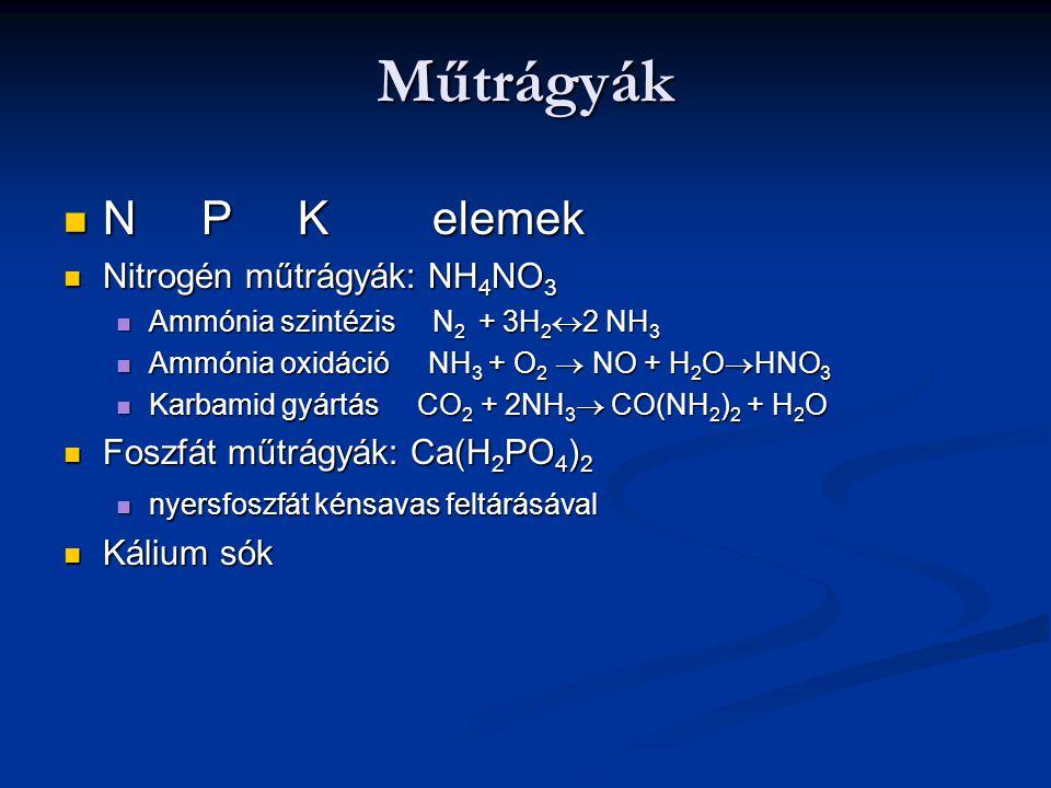 Műtrágyák N P K elemek N P K elemek Nitrogén műtrágyák: NH 4 NO 3 Nitrogén műtrágyák: NH 4 NO 3 Ammónia szintézis N 2 + 3H 2  2 NH 3 Ammónia szintézi