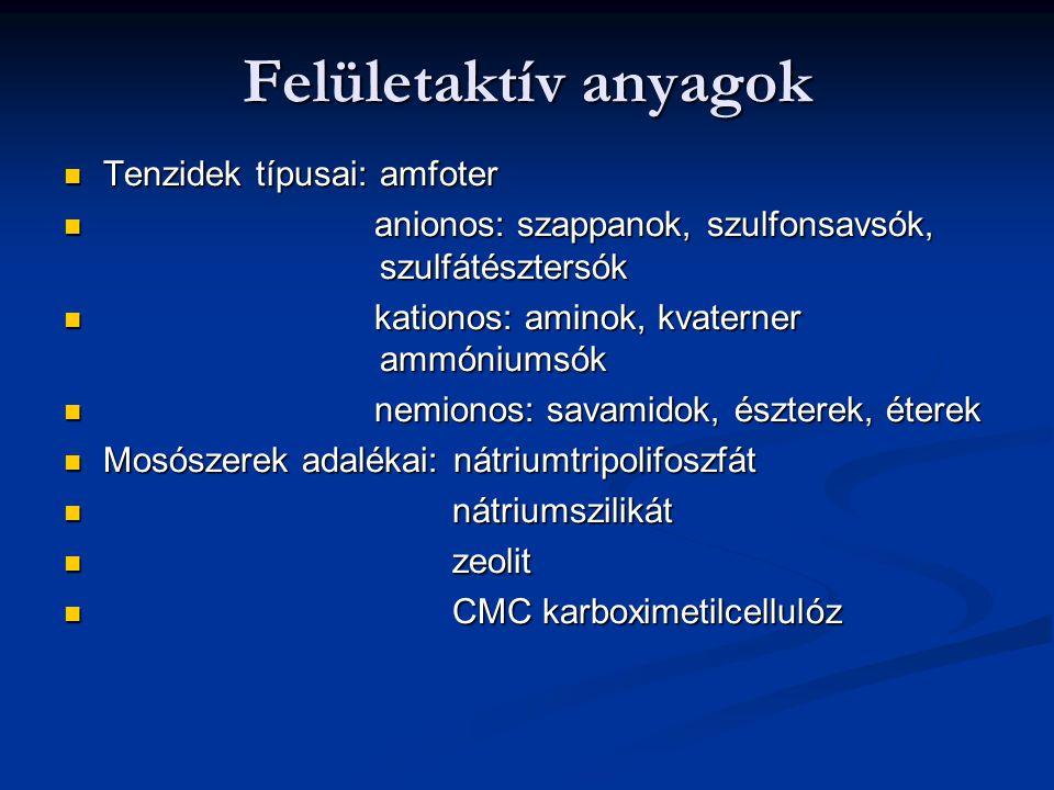 Felületaktív anyagok Tenzidek típusai:amfoter Tenzidek típusai:amfoter anionos: szappanok, szulfonsavsók, szulfátésztersók anionos: szappanok, szulfon