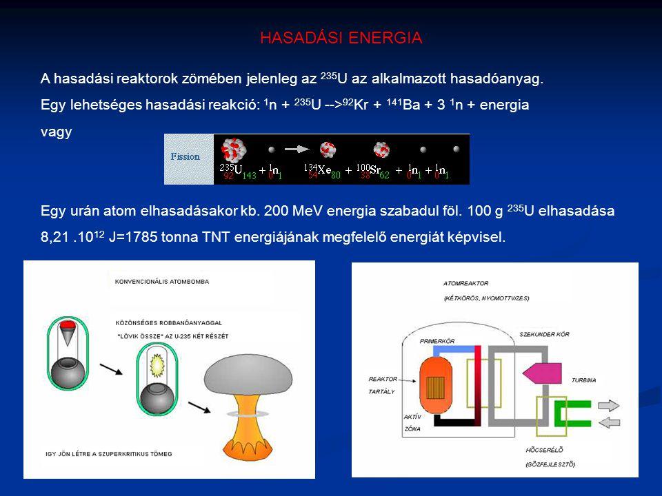 HASADÁSI ENERGIA A hasadási reaktorok zömében jelenleg az 235 U az alkalmazott hasadóanyag. Egy lehetséges hasadási reakció: 1 n + 235 U --> 92 Kr + 1