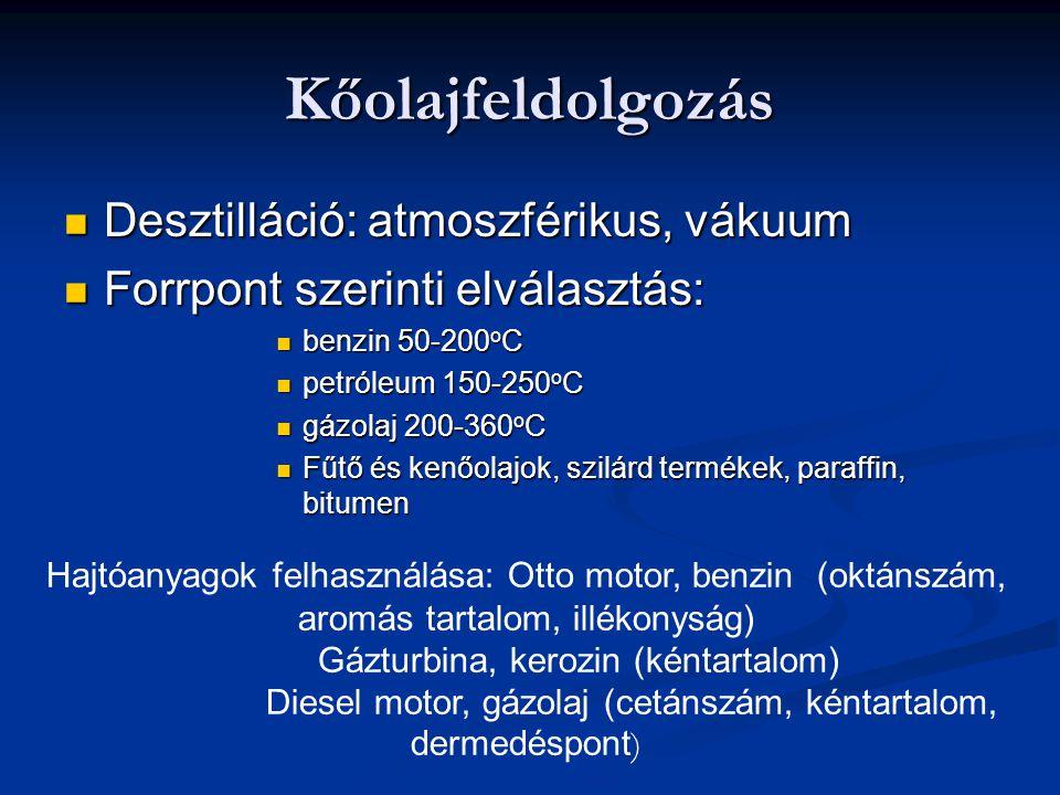 Kőolajfeldolgozás Desztilláció: atmoszférikus, vákuum Desztilláció: atmoszférikus, vákuum Forrpont szerinti elválasztás: Forrpont szerinti elválasztás