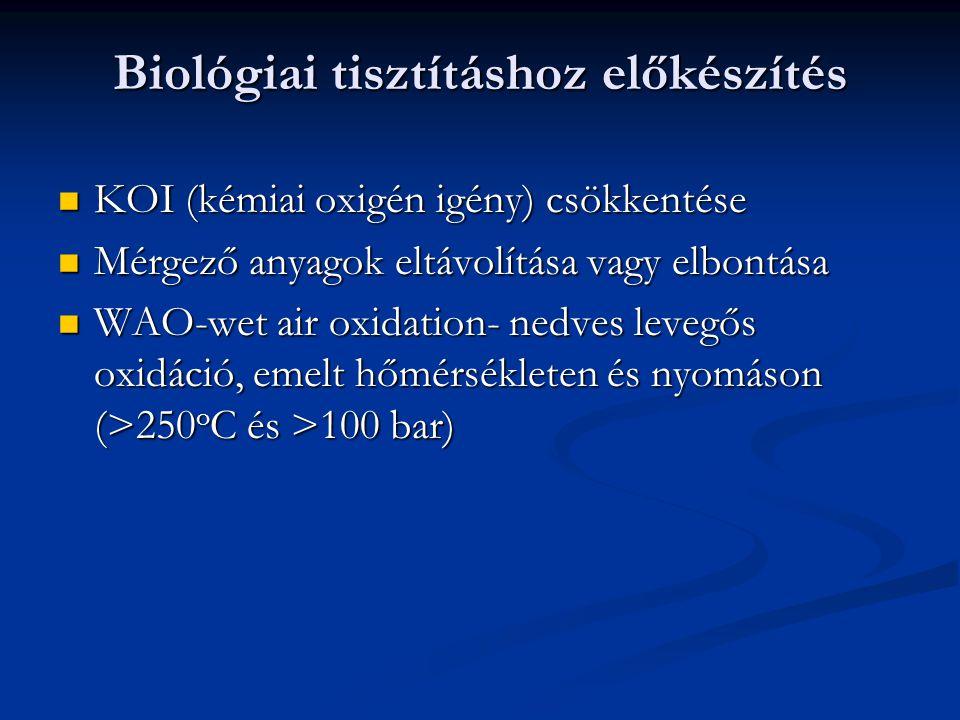 Biológiai tisztításhoz előkészítés KOI (kémiai oxigén igény) csökkentése KOI (kémiai oxigén igény) csökkentése Mérgező anyagok eltávolítása vagy elbon