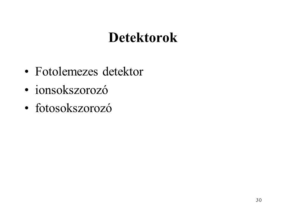 30 Detektorok Fotolemezes detektor ionsokszorozó fotosokszorozó