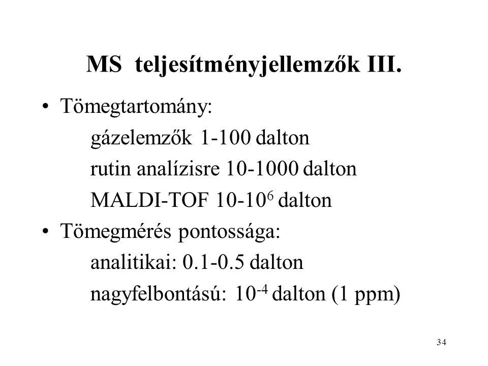 34 MS teljesítményjellemzők III. Tömegtartomány: gázelemzők 1-100 dalton rutin analízisre 10-1000 dalton MALDI-TOF 10-10 6 dalton Tömegmérés pontosság