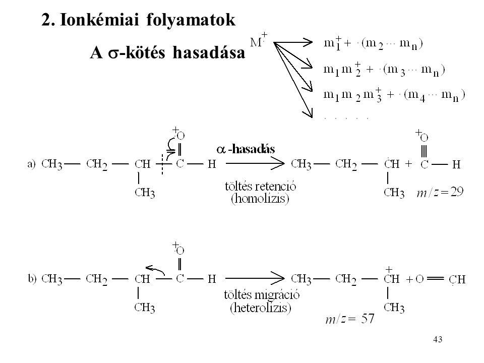43 2. Ionkémiai folyamatok A  -kötés hasadása