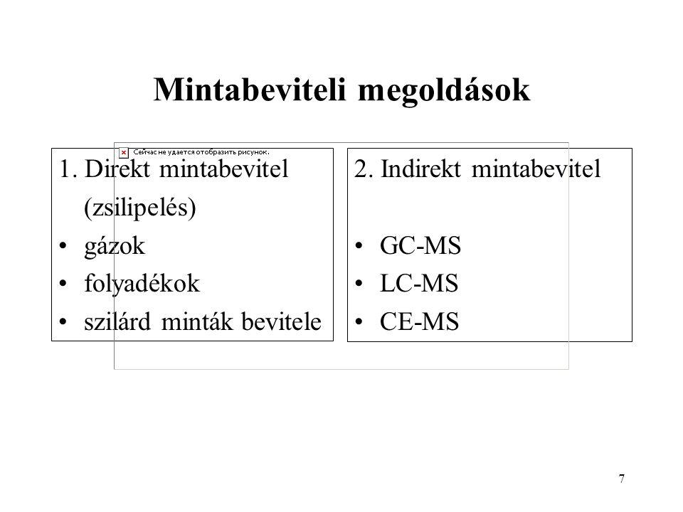 7 Mintabeviteli megoldások 1. Direkt mintabevitel (zsilipelés) gázok folyadékok szilárd minták bevitele 2. Indirekt mintabevitel GC-MS LC-MS CE-MS