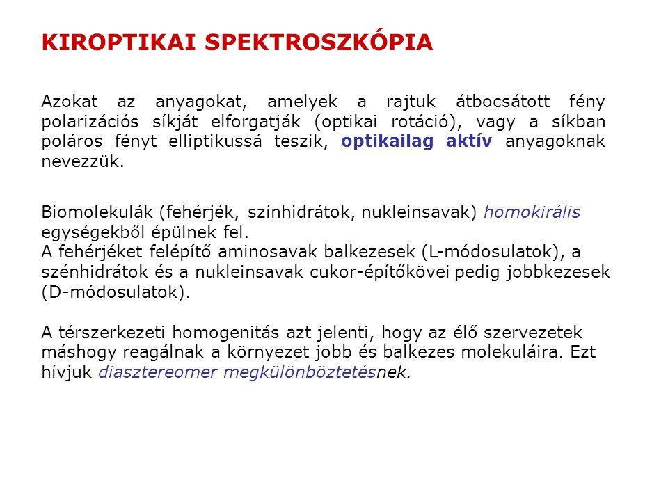 """Diasztereomer megkülönböztetés Ízek (L)-(-)aszparagin íztelen D-(+)-aszparagin édes (L,L)-aszpartil-fenilalanin-metilészter (aszpartám)édes (D,D), (L,D), (D,L)-aszpartil-fenilalanin-metilészternem édes Illatok (S)-(+)-karvonköményillatú (R)-(-)-karvonmentolillatú (-)-mentolmentolillatú és """"ízű (R)-(+)-limonénnarancsillatú (S)-(-)-limonéncitromillatú Biológiai hatás (R)-nikotin (nem természetes)kevésbé toxikus morfin-enantiomernem hatásos barbiturát-enantiomerellentétes hatású (S)--(2-brómfenoxi)-propionsav növényi növekedési hormon (auxin) (R)--(2-brómfenoxi)-propionsav növekedés-gátló"""