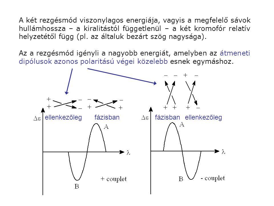 A két rezgésmód viszonylagos energiája, vagyis a megfelelő sávok hullámhossza – a kiralitástól függetlenül – a két kromofór relatív helyzetétől függ (