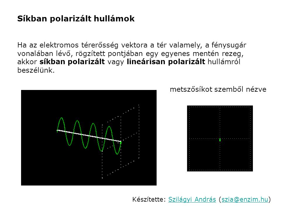 Közeg törésmutatójának hatása cirkulárisan poláros hullámra Cirkulárisan polarizált hullám olyan anyagon halad át, amely 1-nél nagyobb törésmutatóval rendelkezik, a fényt azonban nem nyeli el: anyag előtt:anyag után: Készítette: Szilágyi András (szia@enzim.hu) Szilágyi Andrásszia@enzim.hu