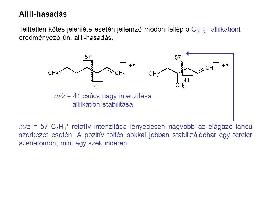 Allil-hasadás Telítetlen kötés jelenléte esetén jellemző módon fellép a C 3 H 5 + allilkationt eredményező ún. allil-hasadás. m/z = 57 C 4 H 9 + relat