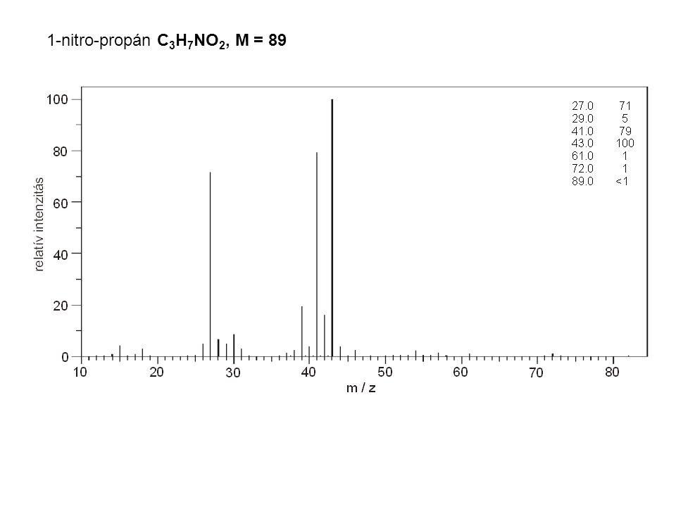 1-nitro-propán C 3 H 7 NO 2, M = 89