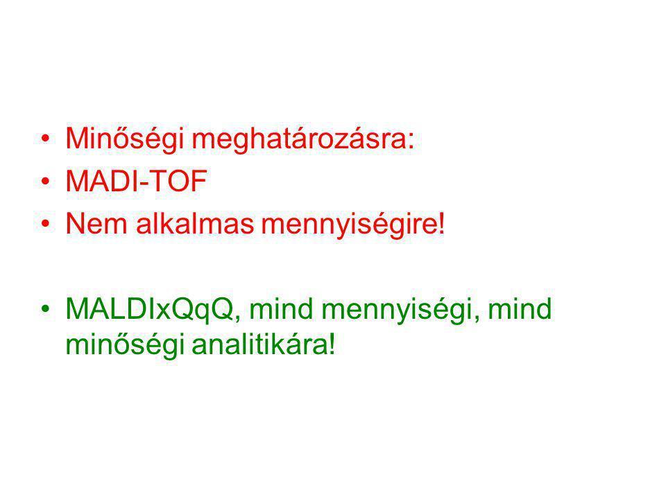 Minőségi meghatározásra: MADI-TOF Nem alkalmas mennyiségire! MALDIxQqQ, mind mennyiségi, mind minőségi analitikára!