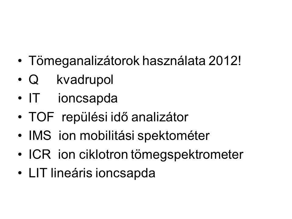 Tömeganalizátorok használata 2012! Q kvadrupol IT ioncsapda TOF repülési idő analizátor IMS ion mobilitási spektométer ICR ion ciklotron tömegspektrom