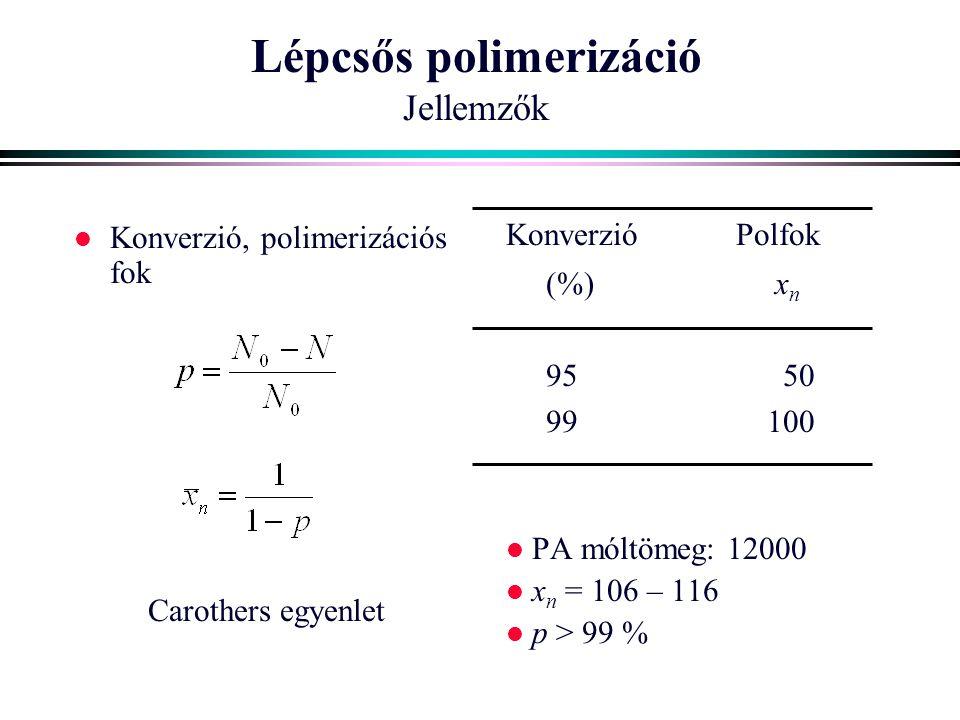 Lépcsős polimerizáció Jellemzők l Konverzió, polimerizációs fok Carothers egyenlet Konverzió Polfok (%) x n 95 50 99100 l PA móltömeg: 12000 l x n = 1