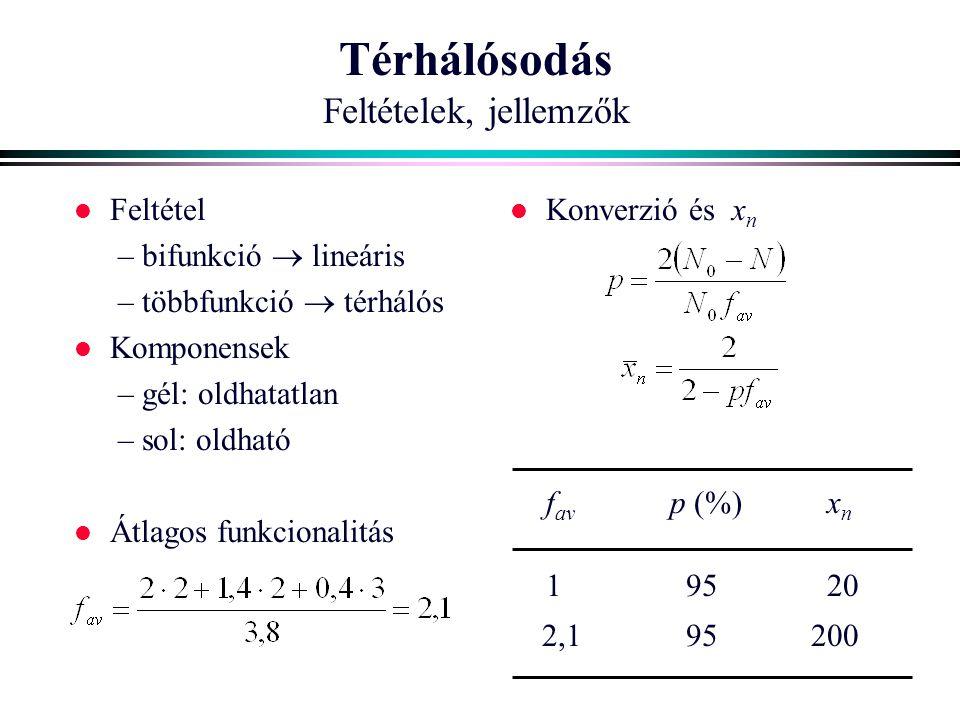 Térhálósodás Feltételek, jellemzők l Feltétel – bifunkció  lineáris – többfunkció  térhálós l Komponensek – gél: oldhatatlan – sol: oldható l Átlago