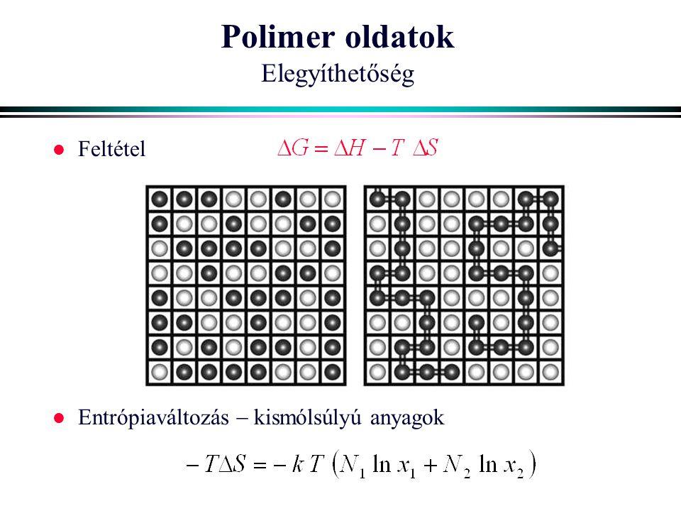 Polimer oldatok Elegyíthetőség l Feltétel l Entrópiaváltozás  kismólsúlyú anyagok