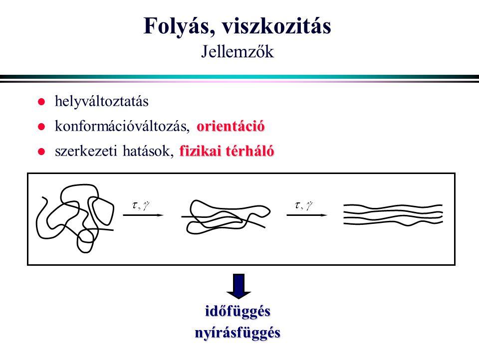 Folyás, viszkozitás Jellemzők l helyváltoztatás orientáció l konformációváltozás, orientáció fizikai térháló l szerkezeti hatások, fizikai térhálóidőf