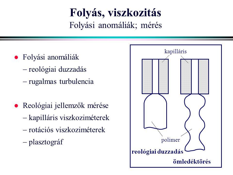 Folyás, viszkozitás Folyási anomáliák; mérés l Folyási anomáliák  reológiai duzzadás  rugalmas turbulencia l Reológiai jellemzők mérése  kapilláris