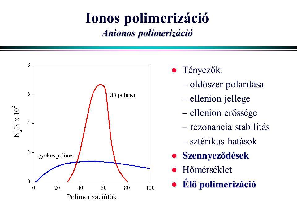 Anionos polimerizáció Ionos polimerizáció Anionos polimerizáció l Tényezők: – oldószer polaritása – ellenion jellege – ellenion erőssége – rezonancia