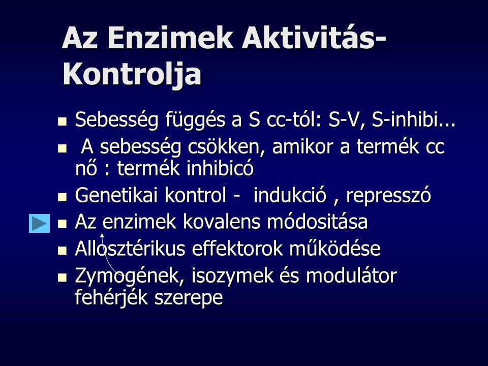 Az Enzimek Aktivitás- Kontrolja Sebesség függés a S cc-tól: S-V, S-inhibi... Sebesség függés a S cc-tól: S-V, S-inhibi... A sebesség csökken, amikor a