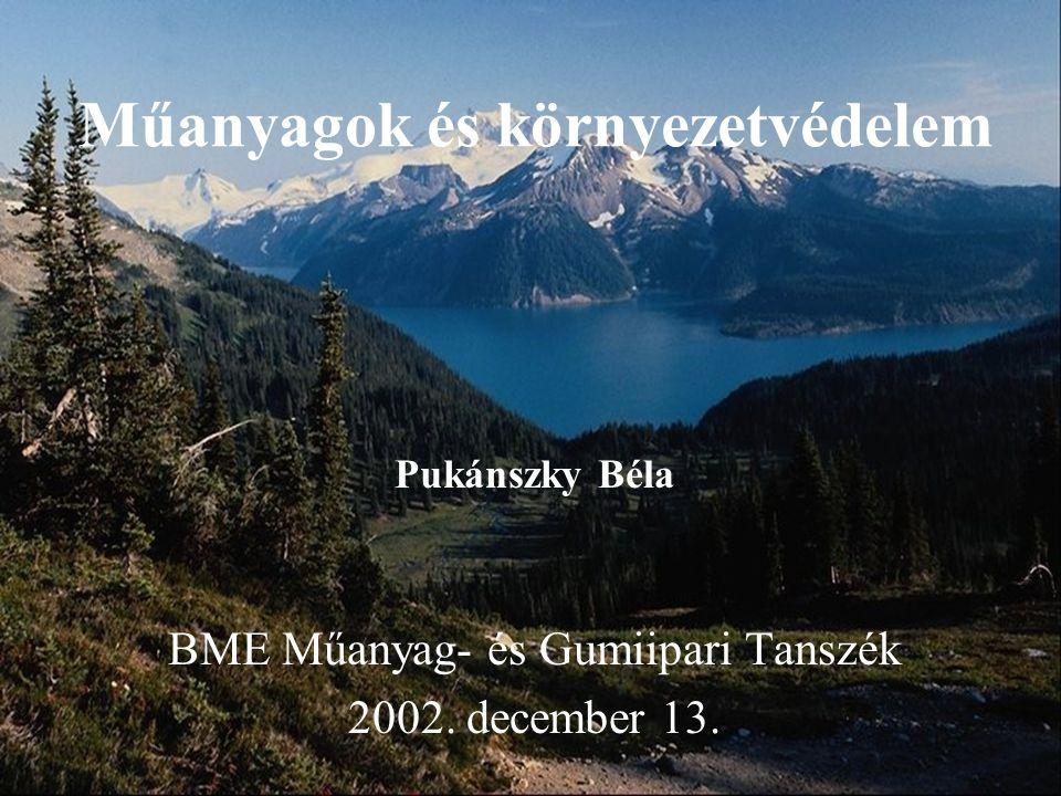 Műanyagok és környezetvédelem Pukánszky Béla BME Műanyag- és Gumiipari Tanszék 2002. december 13.