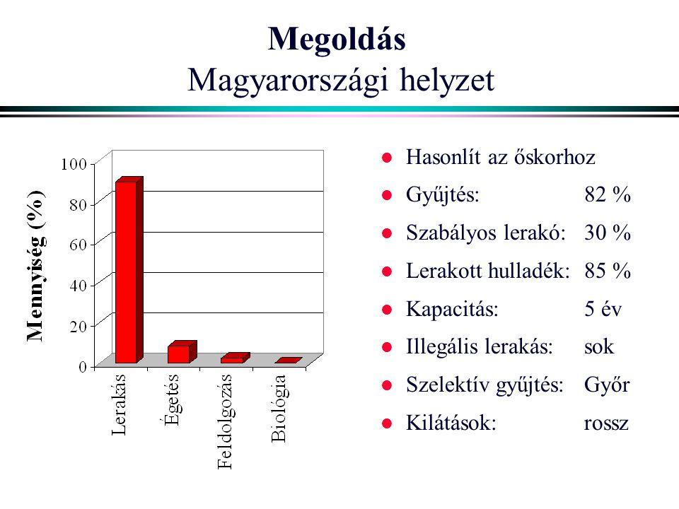 Megoldás Magyarországi helyzet l Hasonlít az őskorhoz l Gyűjtés: 82 % l Szabályos lerakó:30 % l Lerakott hulladék:85 % l Kapacitás:5 év l Illegális le