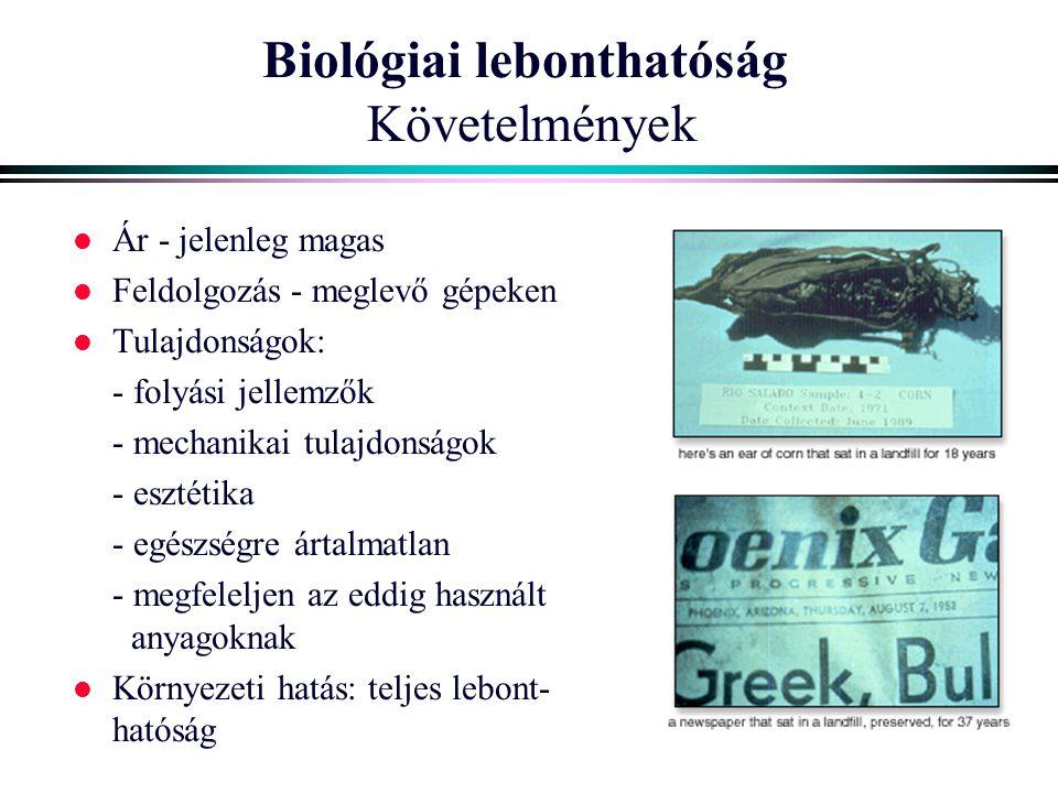 Biológiai lebonthatóság Követelmények l Ár - jelenleg magas l Feldolgozás - meglevő gépeken l Tulajdonságok: - folyási jellemzők - mechanikai tulajdon