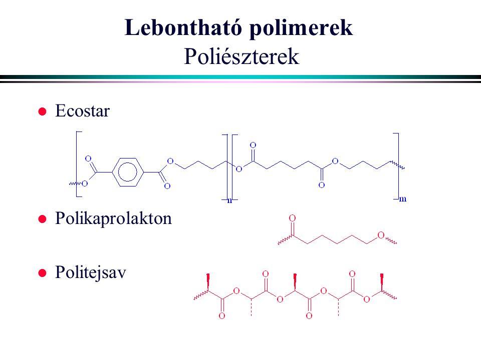 Lebontható polimerek Poliészterek l Ecostar l Polikaprolakton l Politejsav
