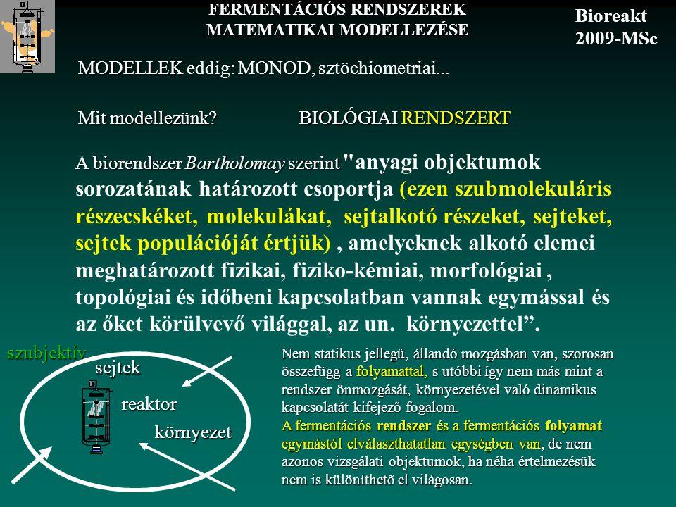 FERMENTÁCIÓS RENDSZEREK MATEMATIKAI MODELLEZÉSE A biorendszer Bartholomay szerint A biorendszer Bartholomay szerint