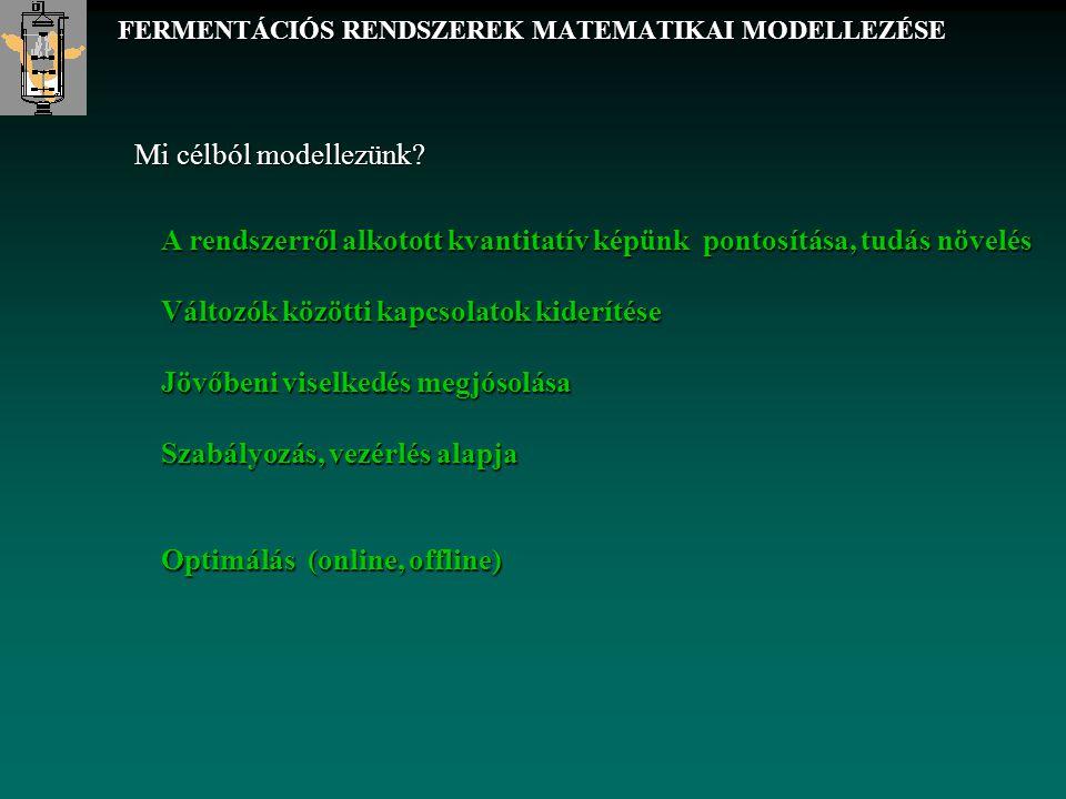 FERMENTÁCIÓS RENDSZEREK MATEMATIKAI MODELLEZÉSE Mi célból modellezünk? A rendszerről alkotott kvantitatív képünk pontosítása, tudás növelés Változók k