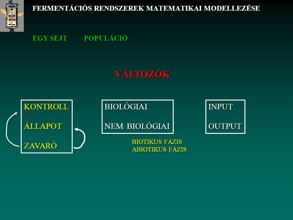 V állandó fermentlé térfogat, f adagolási és elvételi térfogatáram c i az i-edik anyag koncentrációja r i az i-edik anyag növekedési sebessége .